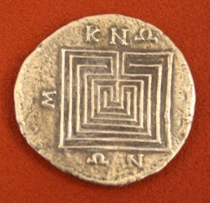 Silver tetradrachm, Knossos, Crete. 2nd-1st century BCE. O: Zeus, R: Labyrinth.