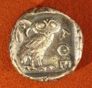 Athenian Silver Tetradrachm, 479-454 BCE. O: Athena. R: Owl and olive branch.