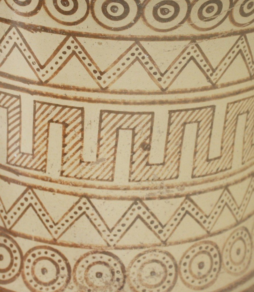 A detail of a 7th century BCE amphora displaying the common design motifs of the Geometric style of Greek pottery. The style was in use from 900 to 600 BCE in the Greek world and involved decorating vessels with simple linear motifs and stylised figures. From ancient Thera, Santorini. Archaeological Museum, Thera.