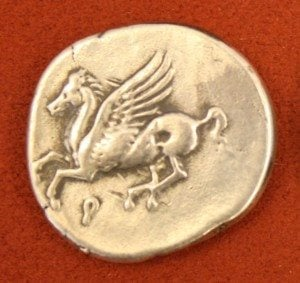 Silver Stater from Corinth, 386-307 BCE. O: Pegasus, R: Athena.
