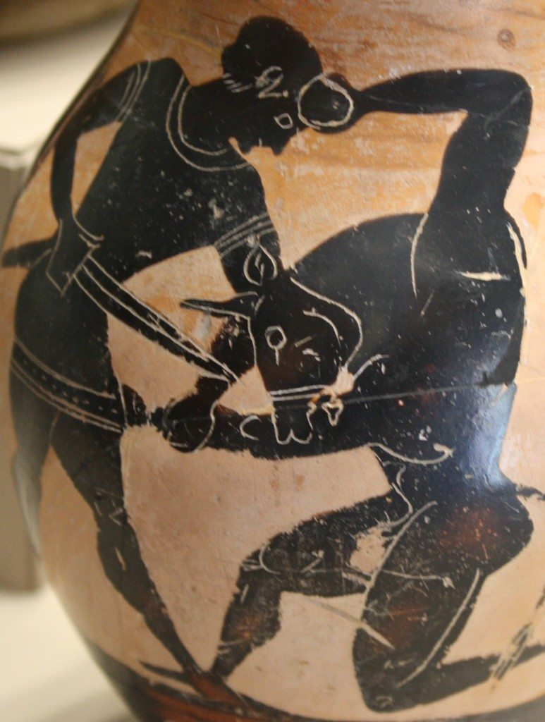 Greek black-figure amphora with Theseus and the Minotaur. 6th century BCE, Archaeological Museum, Milan, Italy.