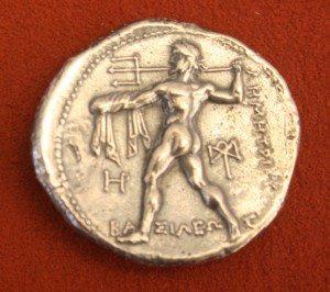 Silver tetradrachm from Macedon, 306-283 BCE. O: Nike, R: Poseidon.