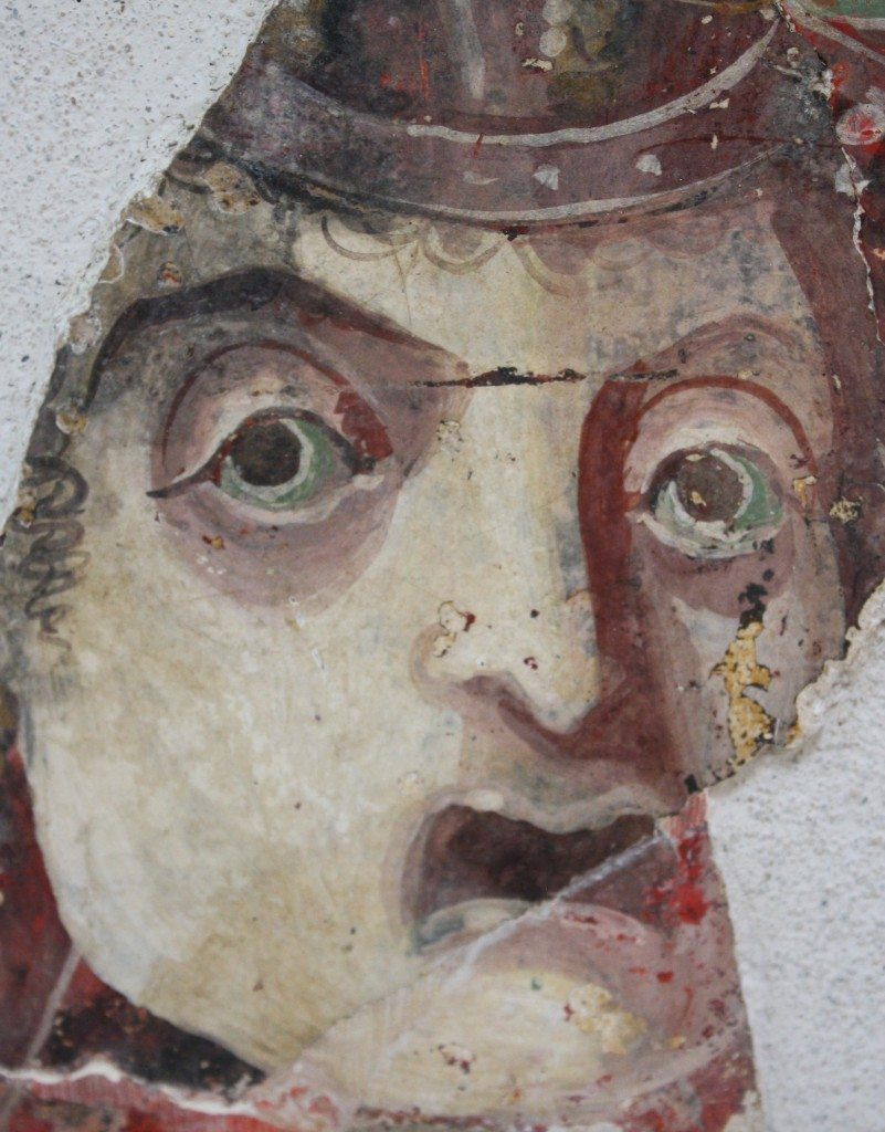 A fresco fragment depicting a face, from Solunto, Sicily.  Date unknown, Archaeological Museum, Solunto, Sicily.