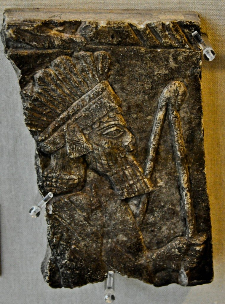 The upper part of the body of an archer (who might well represent an Assyrian soldier?). He wears a feather headdress. Alabaster bas-relief from Kuyunjik (modern-day Ninawa Governorate, northern Mesopotamia, Iraq). Reign of Ashurbanipal, 668-627 BCE. The Burrell Collection, Glasgow, Scotland, UK.