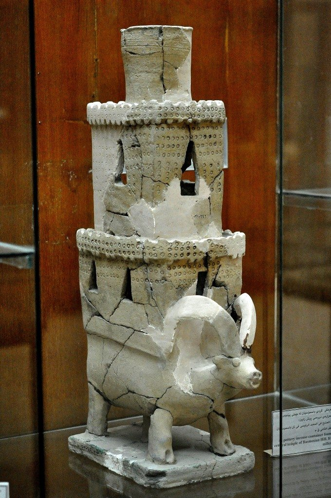 An incense burner which was found at layer 5 of the altar platform of the central temple of Tell Basmosian (modern-day Lake Dukan, Sulaimaniya Governorate, Iraq), Mesopotamia, Hurrian period, 2nd millennium BCE. (The Sulaimaniya Museum, Iraq).