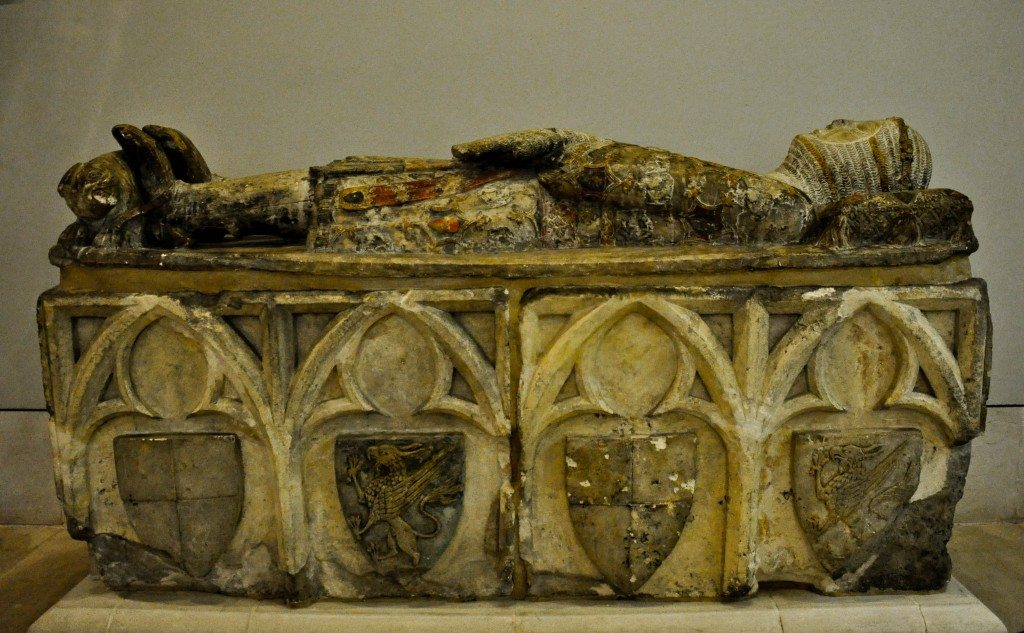 Tomb of a Knight from the Espes family. The effigy is said to represent Don Ramon Perlata de Espes (died 1348 CE). He was captain general of the armies of Aragon and grand admiral of Aragon and Sicily. Formerly in the monarchy of Sta. Maria de Obarra at Calvera near Huesca, northen Spain. Painted limestone. Spanish, mid-14th century.