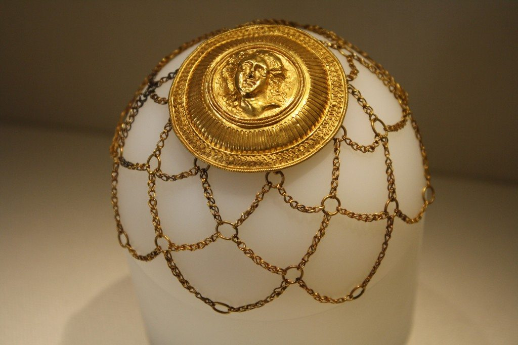 A 3rd century BCE gold hair ornament from Agrigento, Sicily. The central medallion depicts Medusa. Archaeological Museum of Agrigento.