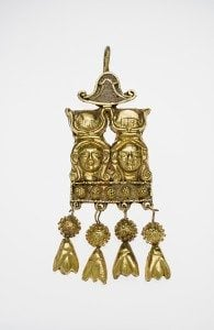 Double Hathor head earring 90 B.C.–50 A.D. Gold, enamel *Harvard University—Boston Museum of Fine Arts Expedition *Photograph © Museum of Fine Arts, Boston