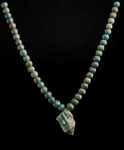 String of beads with a glazed quartz pendant 1700–1550 B.C. Faience, glazed quartz *Harvard University—Boston Museum of Fine Arts Expedition *Photograph © Museum of Fine Arts, Boston