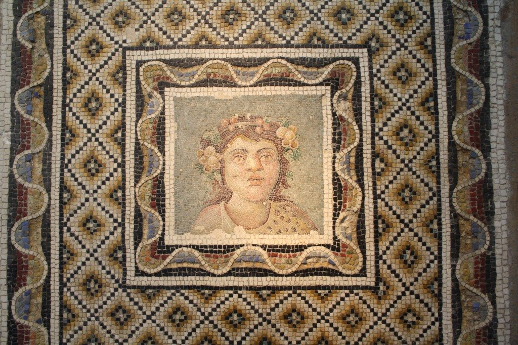 A 3rd century CE Roman floor mosaic depicting Bacchus, god of wine. From via Flaminia, Rome. Palazzo Massimo, Rome.