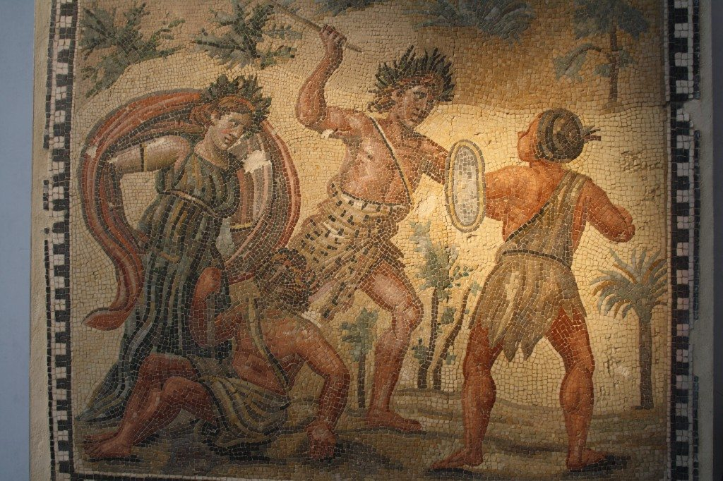 A Roman floor mosaic dating to the 4th century CE and depicting Dionysos fighting Indians. Dionysos was a very popular subject in Roman mosaics. Provenance: Villa Ruffinella, Rome. Palazzo Massimo, Rome.