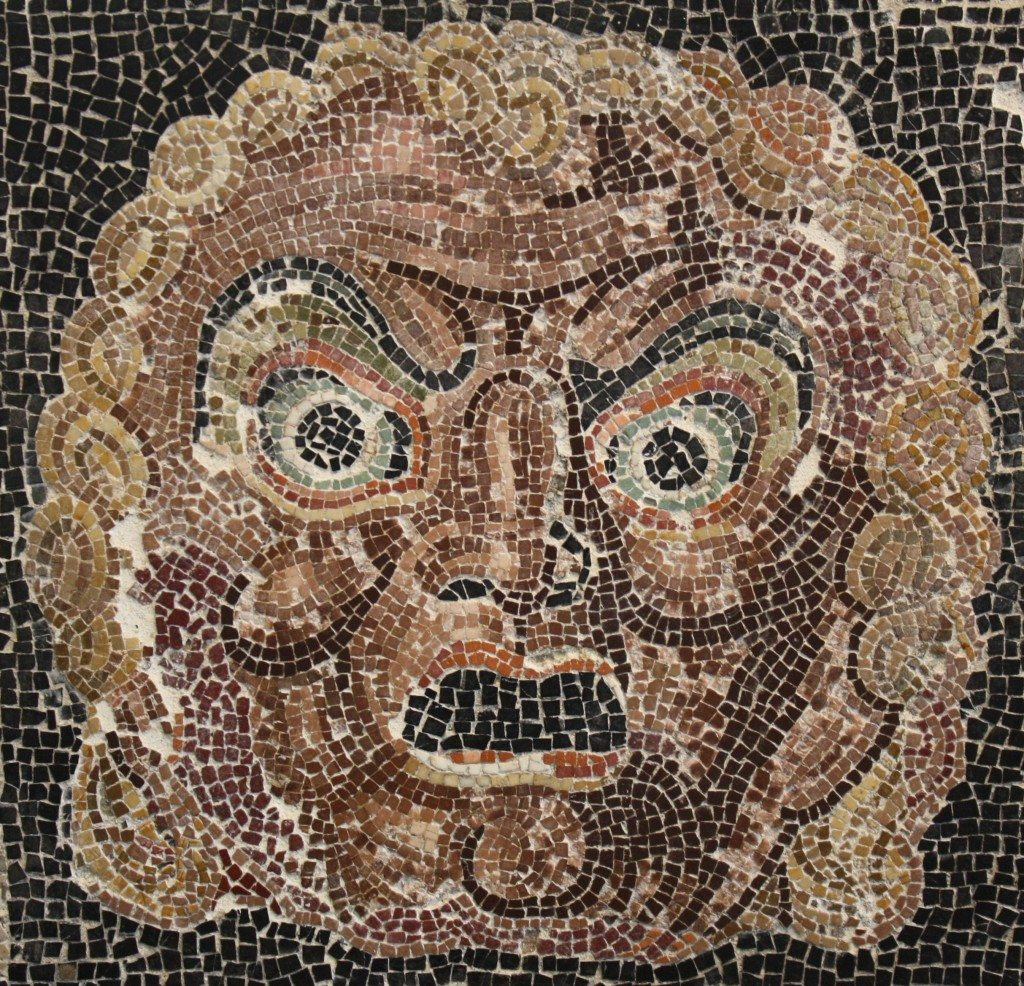 A theatre mask mosaic, 1st centruy BCE. From a private villa in the area of Villa Ruffinella, Rome. Palazzo Massimo, Rome.