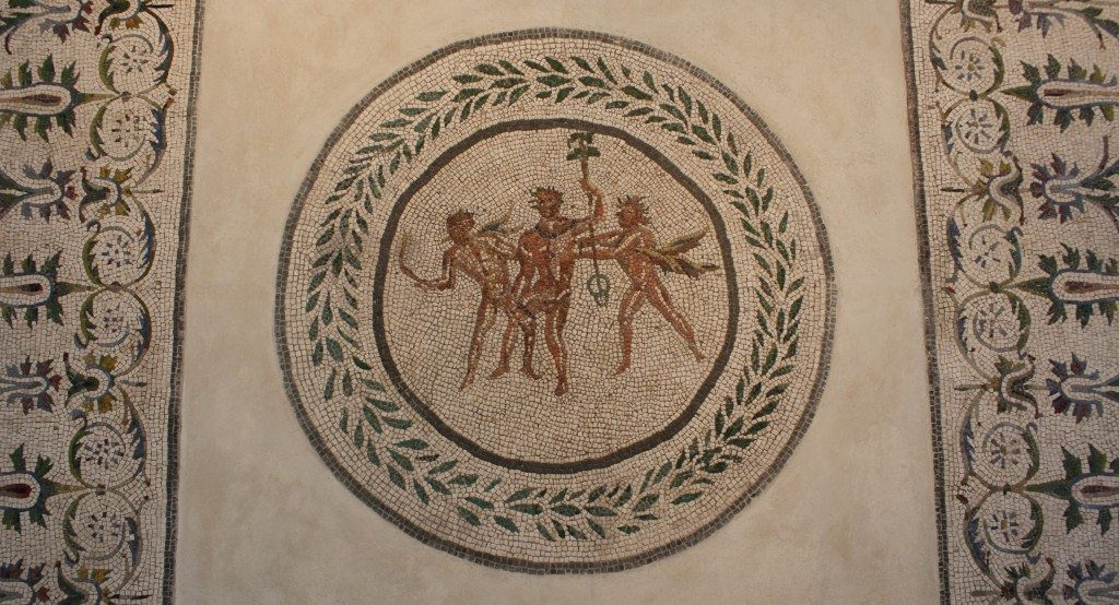 A 2nd century CE floor mosaic depicting Dionysos and satyrs with laurel crowns. From the area of the Villa della Farnesina, Rome. Palazzo Massimo, Rome