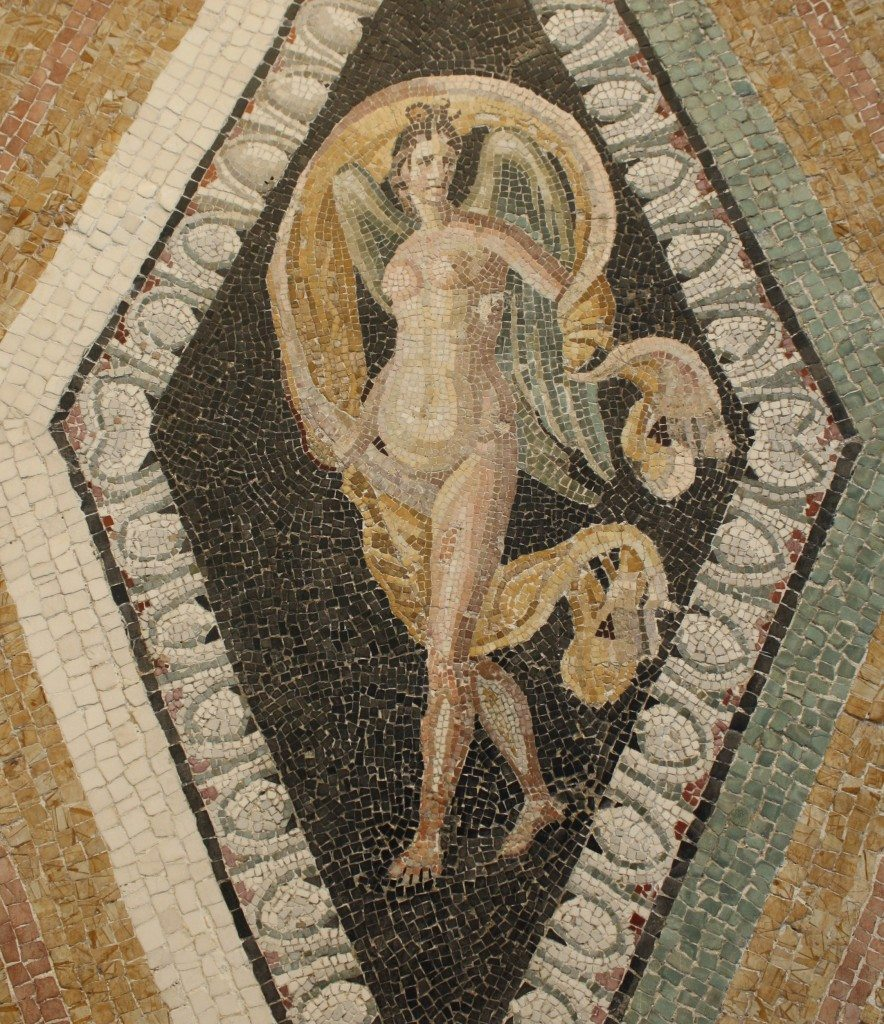 A Roman floor mosaic dating to the 1st century BCE and depicting Nike. From a Roman villa near via Ruffinella, Rome. Palazzo Massimo, Rome.