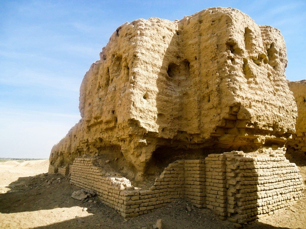 Part of the zigguratt. The bricks on the foundation seem to be a modern-type one, not an ancient one. This is likely to prevent collapsing.