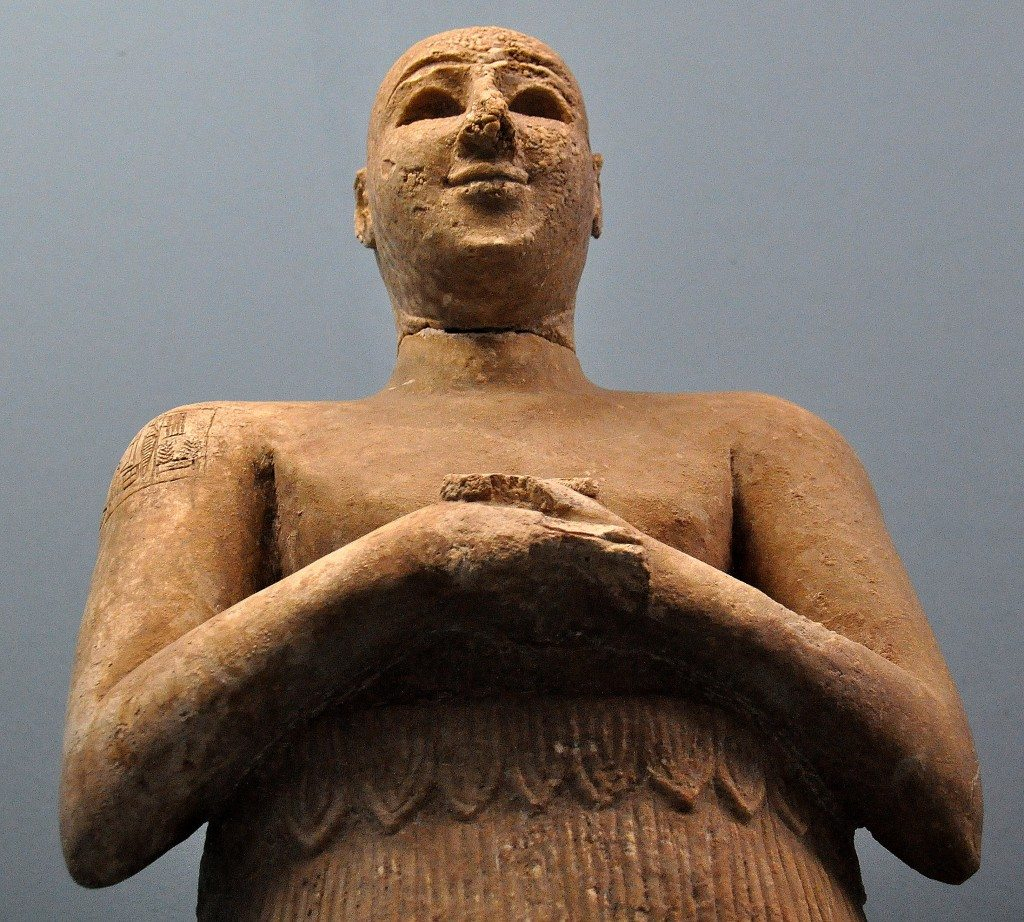 Statue of Lugal-dalu. The cnueform inscriptions on the right shoulder of this man say that this Lugal-dalu, the king of Adab and that the statue was devoted to Esar, the great god of that city.