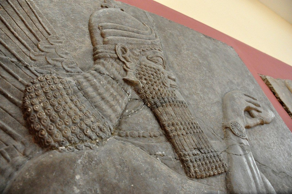 Alabaster bas-relief of a human-headed and winged Apkallu (sage). From the north-west palace of king Ashurnasirpal II at Nimrud (ancient Kalhu; Biblical Calah). northern Mesopotamia, Iraq. 883-859 BCE.