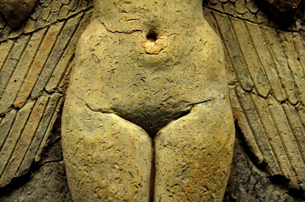 Note the perfectly depicted female-styled pelvis and the position of the navel. The pubic area curves inward and the deity's external genitalia are hidden by the upper thighs.