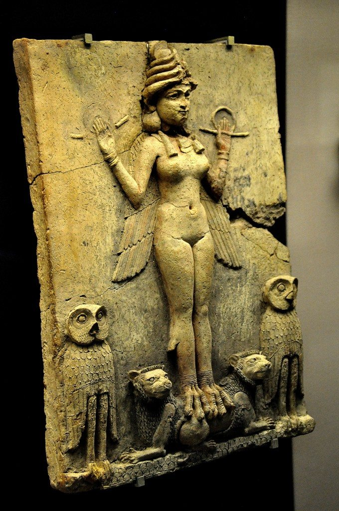 Terracotta plaque of the Queen of the Night Relief or Burney Relief at the British Museum. The displaying case lies in room 56, Mesopotamia.