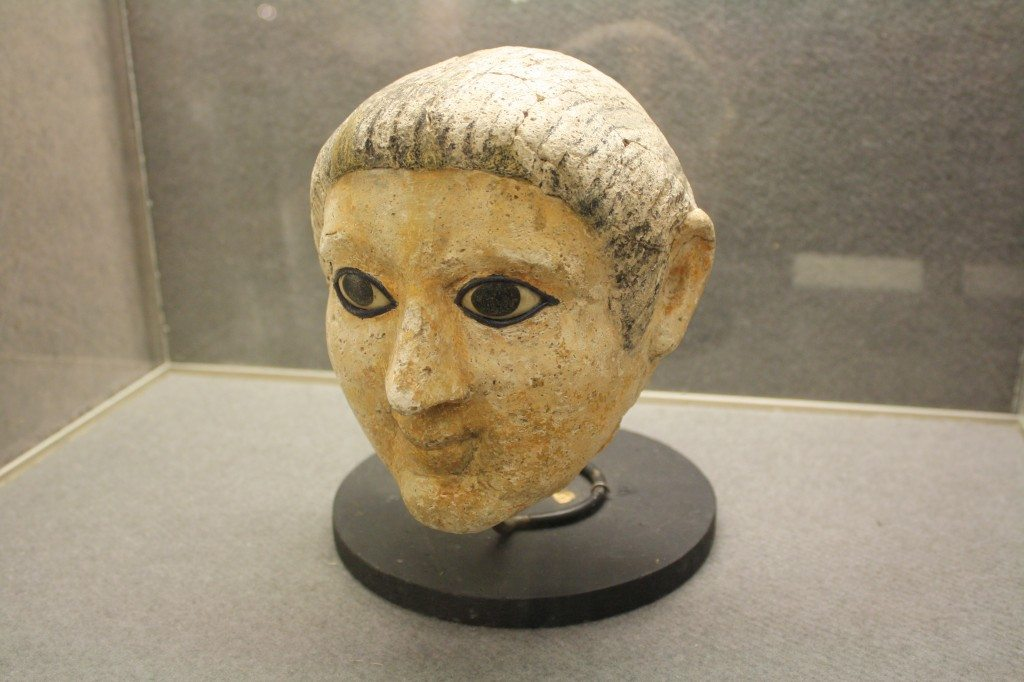 Plaster inlaid with stone funerary mask from 3rd to 4th century CE. (Egyptian Museum, Castello Sforzesco, Milan)
