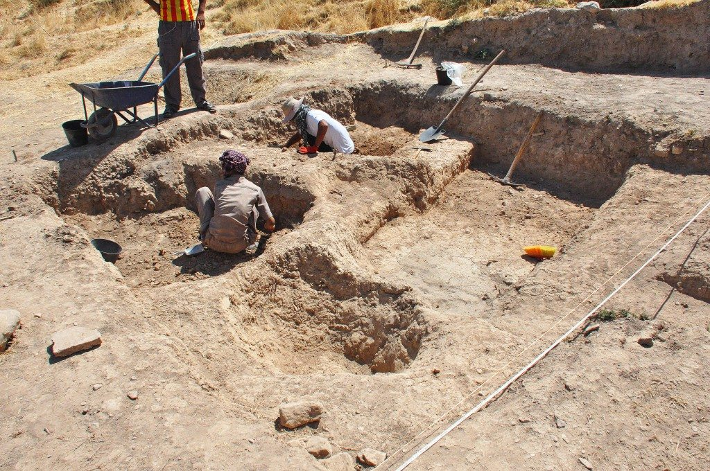 One of the excavation teams is working on an area.
