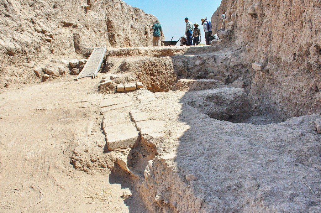 One of the excavated areas. Note the pavement floor and its bricks.