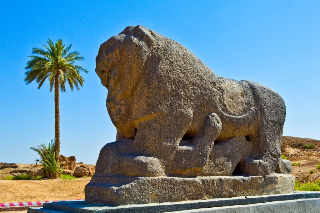 The Lion of Babylon statue. Basalt. Neo-Babylonian period, reign of king Nebuchadnezzar, 605-562 BCE. Babylon, modern Babel Governorate, Iraq.
