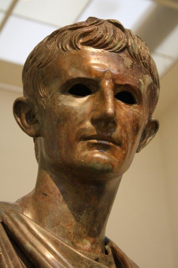 A detail of a bronze staute of Roman emperor Augustus, 12-10 BCE.