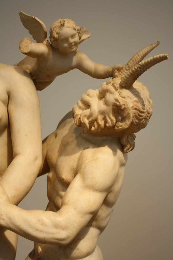 A detail of a group sculpture of Aphrodite, Eros and Pan, Parian marble, Delos, c. 100 BCE.