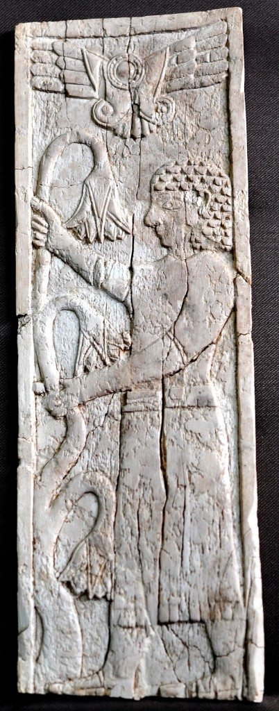Another carving ivory of a man holding lotus branches. Neo-Assyrian period, 9th-7th centuries BCE. From Nimrud, Mesopotamia, Iraq. (The Sulaimaniya Museum, Iraq).