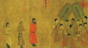Emperor Taizong (r. 626–649 CE) receives Ludongzan, ambassador of Tibet, at his court; painted in 641 CE by Yan Liben (600–673 CE).