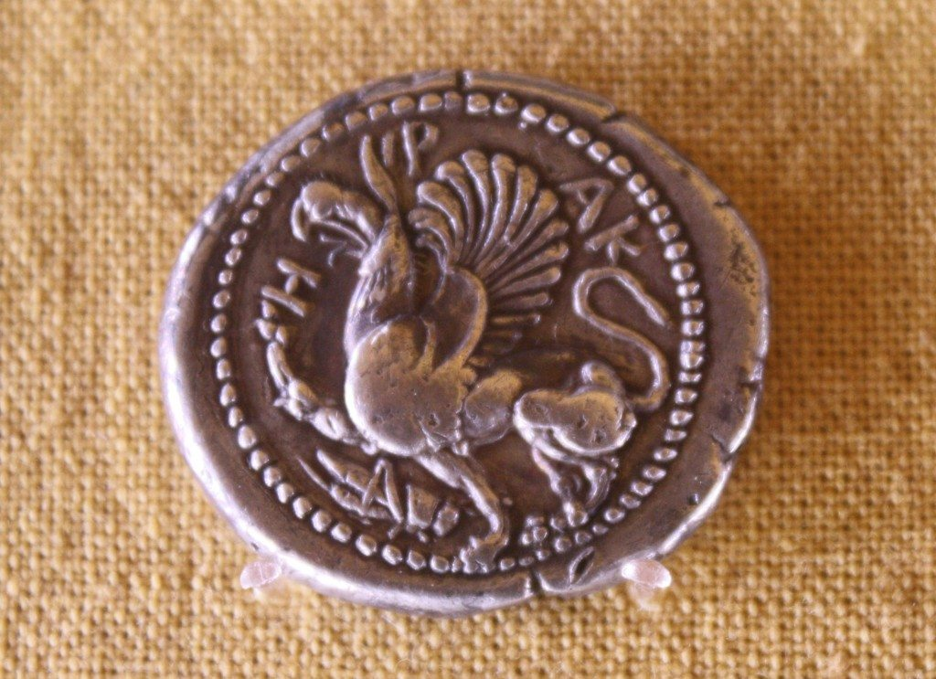 A coin from Abdera depicting a Griffin. The Numisamtics Museum, Athens. Photographer: Mark Cartwright