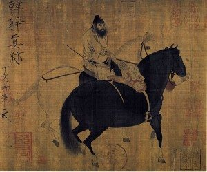 A famous Tang dynasty painting on paper of two prized horses and one rider by Han Gan (c. 706-783 CE).