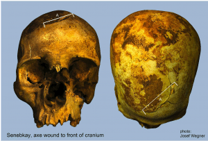 Senebkay's skull shows clear impact marks of an axe