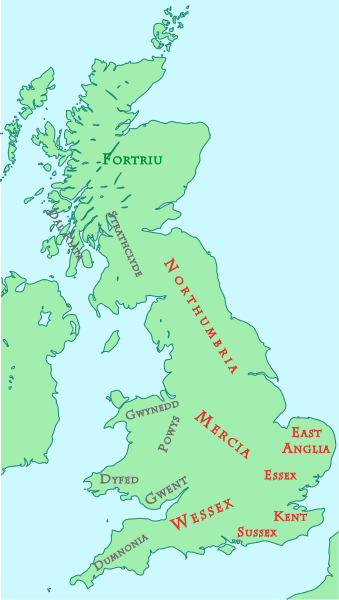 This map shows kingdoms in the island of Great Britain at about the year 800 CE.