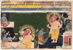 Ganesa writing the Mahabharat, dictated by Vyas, Indian, Rajasthani 17th century CE, Museum of Fine Arts, Boston