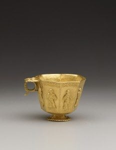 Cast Gold Cup with Chased Decorations. China, 825-50 CE. Acc. No. 2005.1.00918. Copyright © Asian Civilisations Museum, Singapore. Photo by John Tsantes and Robert Harrell, Arthur M. Sackler Gallery.