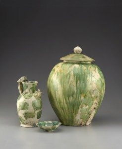 Green-Splashed Ewer, Bowl and Lidded Jar. Probably Gongxing kilns, Henan Province, China, 825-50 CE. Acc. Nos. 2005.1.00403, .00398, and .00377-1/2–2/2. Copyright © Asian Civilisations Museum, Singapore. Photo by John Tsantes and Robert Harrell, Arthur M. Sackler Gallery.