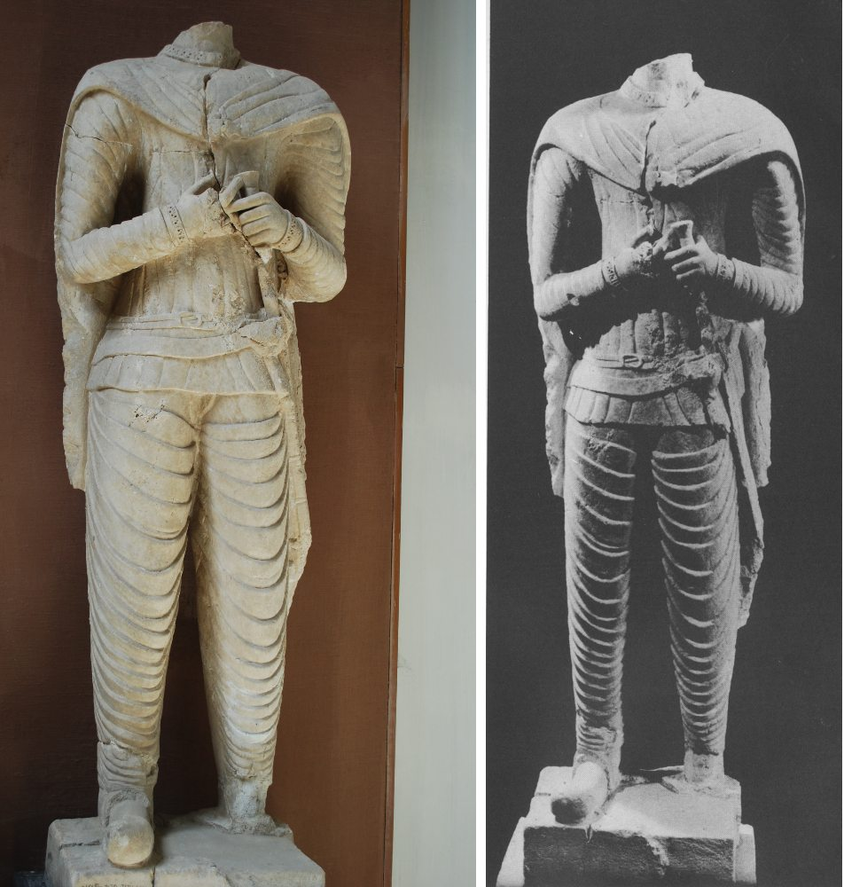 Statue of Makai ben Nashri seen in 3:16 of video. Left photo by Diane Siebrandt, U.S. State Department, 2008. Right photo from Safar and Mustafa, Hatra: The City of the Sun God, p. 78.