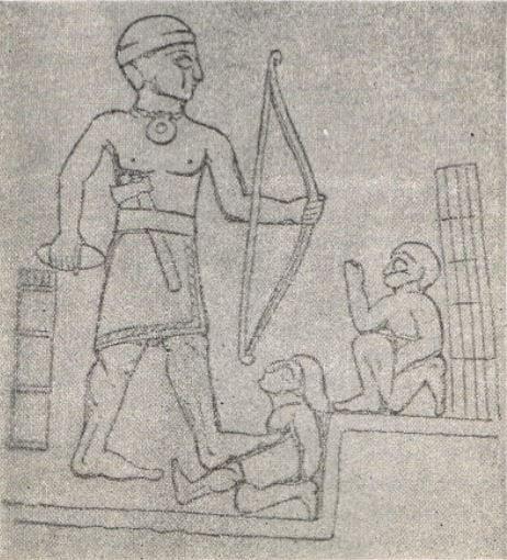 "A sketch of the relief, which was scanned from the book of Taha Bakir and Fouad Safr ""المرشد الى مواطن الاثار و الحضارة, الرحلة السادسة, بغداد-حلبجة. 1966"