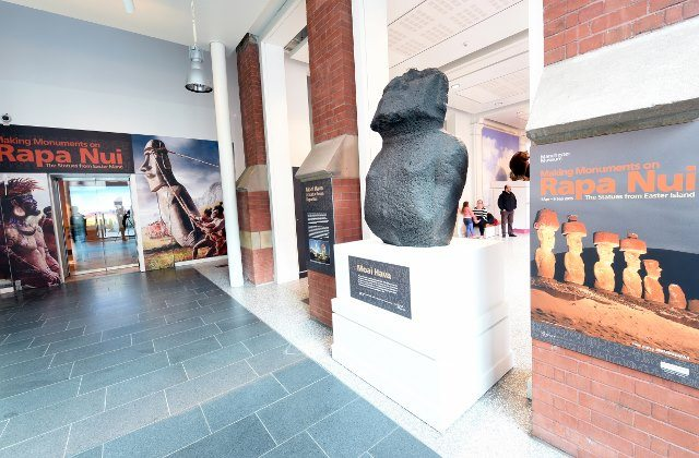 "Entrance to Making Monuments on Rapa Nui at Manchester Museum in Manchester, UK. ""Moai Hava"" is displayed on the right. Photo: Joe Gardner. (Courtesy of Manchester Museum.)"