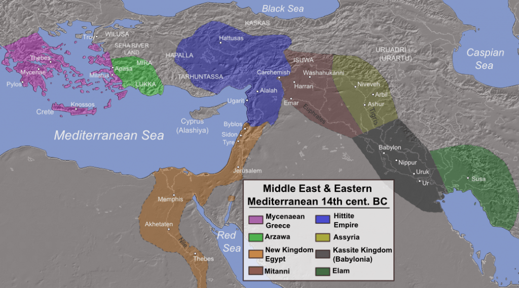 Map of invasions, destructions, and possible population movements during the collapse of Late Bronze Age civilizations, c. 1200 BC. (Uploaded by Alexikoua on Wikipedia in 2013 and licensed CC BY-SA 3.0.)