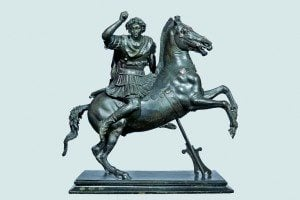 Statuette of Alexander the Great on Horseback. First century BCE bronze, with silver inlays. 49 x 47 x 29 cm. Naples, Museo Archeologico Nazionale.