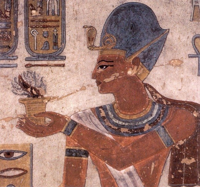 Ramses III offering incense to the gods on wall painting in KV11 at Medinet Habu in Luxor, Egypt. 12th century BC. (Original image uploaded by Sinuhe20 in 2010 on Wikipedia and released into public domain. This is a faithful photographic reproduction of a two-dimensional, public domain work of art.)