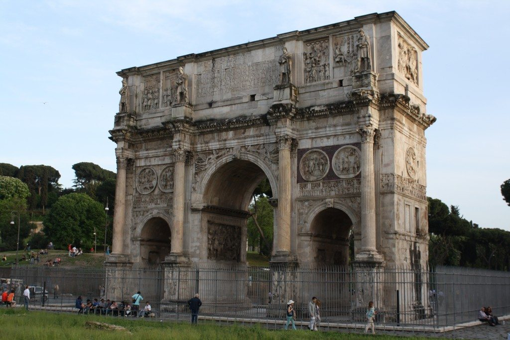 The largest surviving Roman arch was built to celebrate Constantine's defeat of Maxentius in 312 CE.
