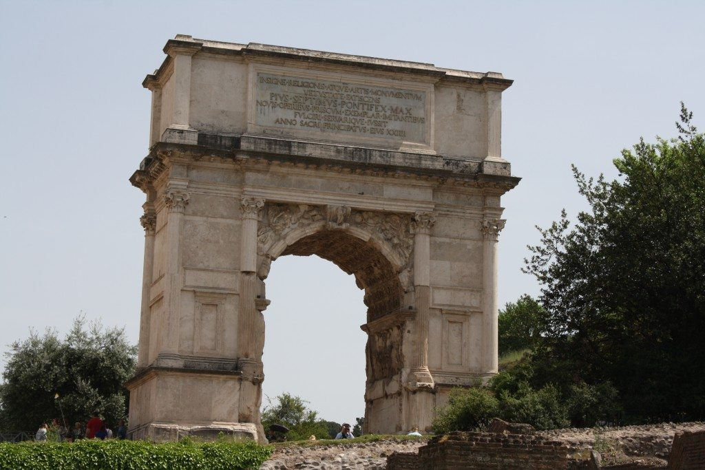 The Triumphal Arch of Titus, erected in c. 81 CE by Domitian to commemorate his brother Titus' campaigns in the Jewish War (70-71 CE).
