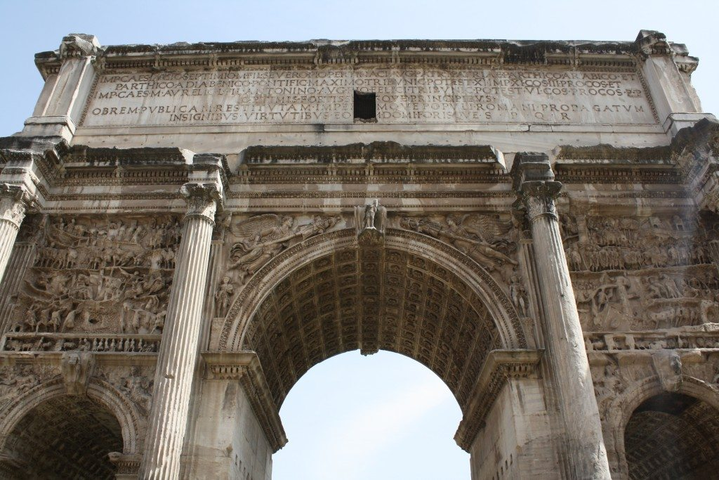 The triumphal arch of Septimius Severus in Rome, erected in 203 CE to commemorate victory over the Parthians.