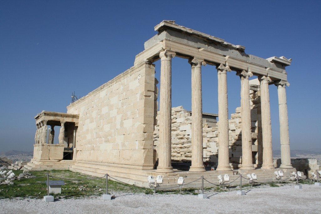 The front facade of the Erechtheion.