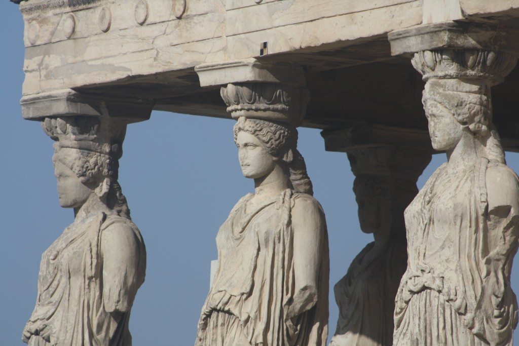 Detail of the Caryatids of the south porch of the Erechtheion.
