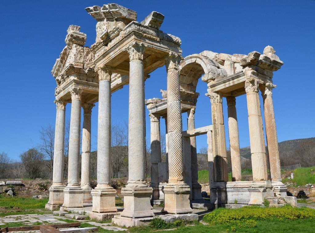The imposing Aphrodisias Tetrapylon, a monumental gateway built in the 2nd century AD